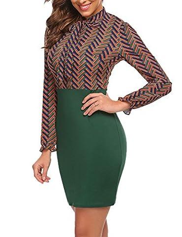 Chigant Damen Herbst Blusenkleid Blumenmuster mit Krawatte Langarm Rock Stretch Knöpfe Festliches Rockabilly Kleid Partykleider