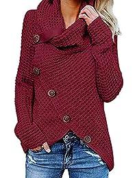 SHOBDW Mujer Moda Primavera Otoño Botón Casual Sobredimensionado Tallas largas  Camisetas de Manga Larga Suéter sólido e2d5b50d2c33