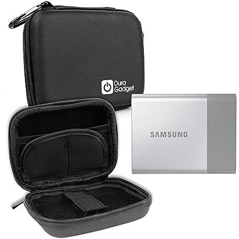 DURAGADGET Funda Rígida Negra Para Samsung SSD T3 - Con Mini Mosquetón - Ideal Para Viajes