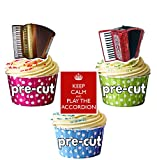 Keep Calm and Play die Akkordeon Mix Essbar Stand-up Cupcake Topper (Pack von 12)
