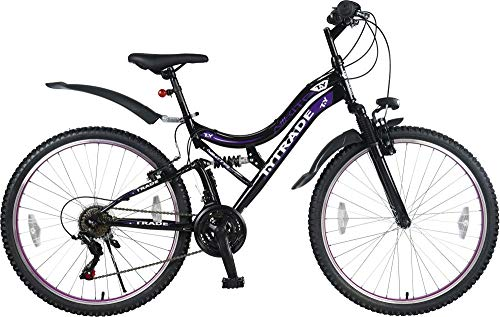 Unbekannt 26 Zoll Kinder Jugend Damen Mädchen Mountainbike MTB JUGENDFAHRRAD Vollgefedert Fahrrad KINDERFAHRRAD Mädchenfahrrad Rad Bike 21 Gang Nikita Schwarz Lila TYT19-017