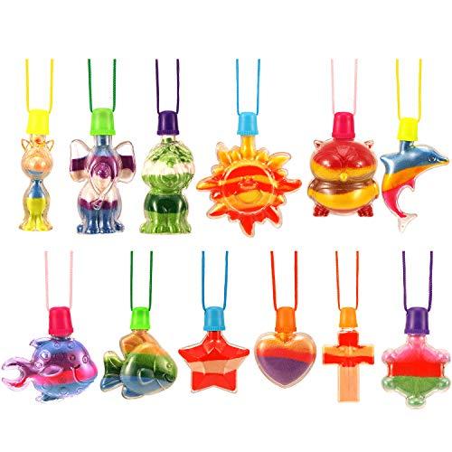 Hicarer 12 Stücke Sand Kunst Flasche Halsketten Tiere Sand Kunst Halskette für Neuheit Kunst Aktivität Gruppe Vielfalt Sommer Strand Spiel