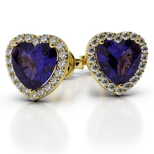 Or jaune 18carats 0,32CT G-H/VS sertie de diamants en forme de cœur tanzanite et boucles d'oreilles Ager-1065
