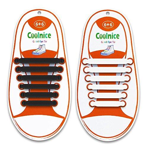 2 Paare Schnürsenkel für Kinder und Erwachsene - Wasserdichte Silikon Wohnung Elastisch Schuhband Sportlich Spitzenborte für Sneaker Converse Rennschuh 1 Paar Schwarz & 1 Paar Weiß