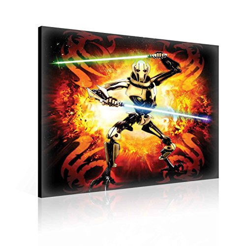 "Lienzo Decorativo para Pared – Star Wars Insider 83 General Grievous – ¡Elija su tamaño! - Negro, Naranja, Rojo, Black, Orange, Red, S - 15.8"" x 15.8"" (40 x 40 cm)"