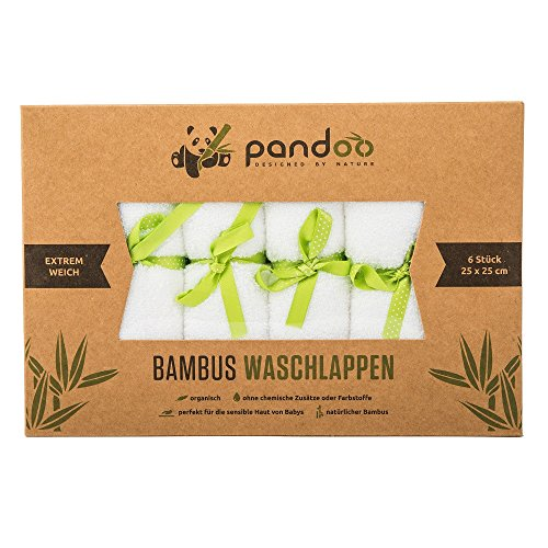 pandoo® ♻ 100% Bambus Baby Waschlappen - kuschelweich, farbstofffrei, hypoallergen & antibakteriell für empfindliche Baby Haut - 25x25cm weiß - 6 Stück (Faser Natürliche Waschlappen)