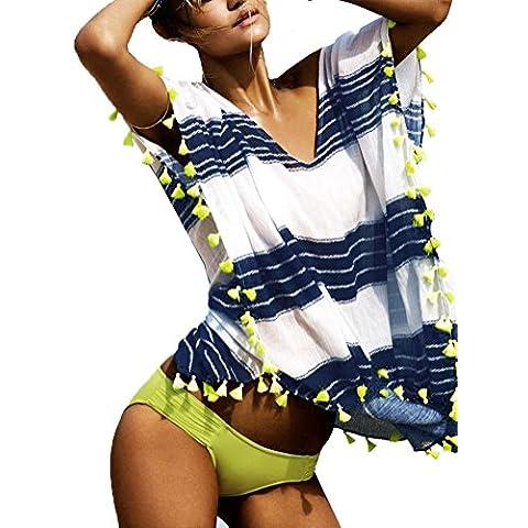 Leeko Camiseta Mujer de Vestido Playa Blusa de Rayas Beach