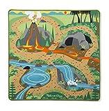 Melissa & Doug- Dino Spielteppich mit 4 Dinosaurier- Motiv prähistorisch Vulkane Felsen Wasser, 100x91cm, Mehrfarbig