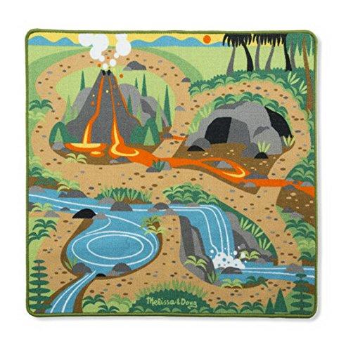 erdbeerwoody - Melissa & Doug- Dino Spielteppich mit 4 Dinosaurier- Motiv prähistorisch Vulkane Felsen Wasser, 100x91cm, Mehrfarbig (Vulkan-brettspiel)