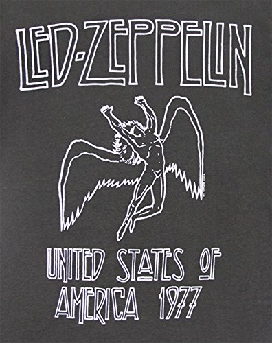 Amplified Herren T-Shirt LED ZEPP 77 Crew Tee, Einfarbig Black/Charcoal