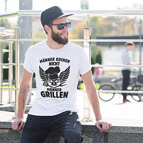 51CFLKHGdwL - vanVerden Herren Fun T-Shirt Männer Kochen Nicht Grillen Grillmeister Plus Geschenkkarte, Größe:XXL, Farbe:Weiß