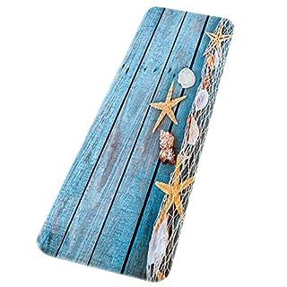 TOOGOO(R) Retro Blue Wood Flooring Fishing Net Conch Shells Starfish Nautical Non-Slip Decorative Bath Mats Rugs For Bathroom Shower Accessories 40x120cm / 16x48inch