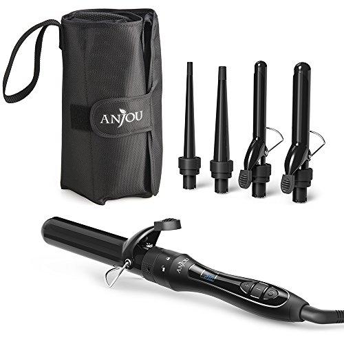 Lockenstab, Anjou 5 in 1 Multifunktion Austauschbare Lockenwickler Kit (9mm - 32mm), schnell erhitzender Friseurlockenstab Schwarz