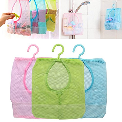 Hanging Storage Net Bag with Hook 3pcs Bathroom Kitchen Storage Pouch Organizer for Shampoo, Conditioner, Soap, Kids Toy, Cosmetic Blue
