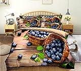 BEDSETAAA El Juego De Ropa De Cama En 3D con Patrón De Arándanos Y Frutas Contiene Tres Juegos De Funda De Almohada Acolchada, 150X200Cm