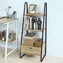 SoBuy®Estanteriá en escalera,Librería infantil , 2 estantes y 1 cajón de almacenamiento,H115cm,FRG219-N,ES