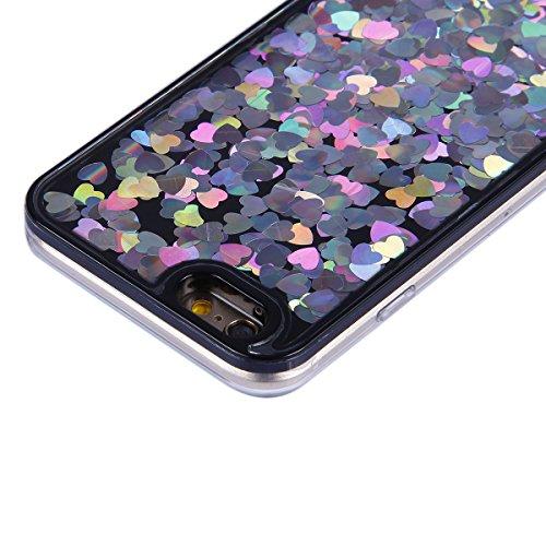 Etsue Liquid Flüssigkeit Hülle für iPhone 6S/iPhone 6, Glitzer Flüssig Wasser Hülle für iPhone 6S/iPhone 6, Lusting Kreativ Glitzer Glitter Shiny Glanz Sparkle Schwimmend Liebe Herz Muster Kristall kl Herz,Silber