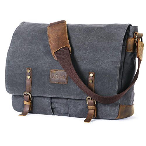 Lifewit 15.6 Zoll Laptoptasche Groß Messenger Bag Herren Wasserdicht Notebook Tasche Männer Umhängetasche Arbeitstaschen Schultertaschen Canvas Grau