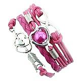 VJGOAL Damen Armband, Unendlichkeit Liebe Herz Perle Freundschaft Antik Leder Charm Armband Frau (Länge: 17 cm, E)