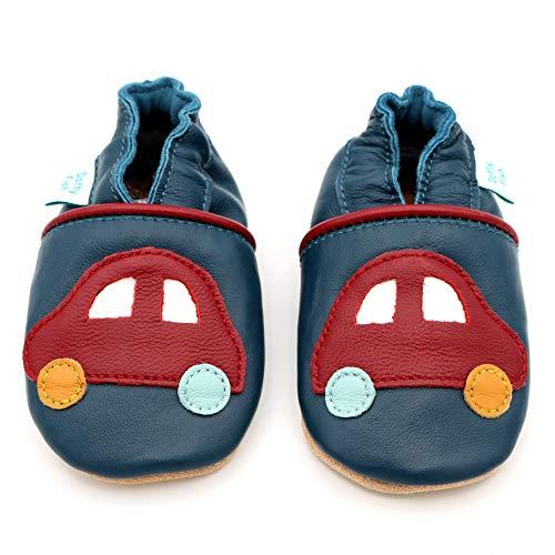 Dotty Fish weiche Leder Babyschuhe mit rutschfesten Wildledersohlen. 3-4 Jahre (27 EU). Roter Autoentwurf auf Marineblau Schuh für Jungen. Kleinkind Schuhe