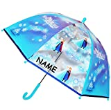 alles-meine.de GmbH Regenschirm -  Disney die Eiskönigin - Frozen - ELSA & Anna  - incl. Name - Kinderschirm transparent - Ø 74 cm - Kinder Stockschirm - Schirm Kinderregenschi..
