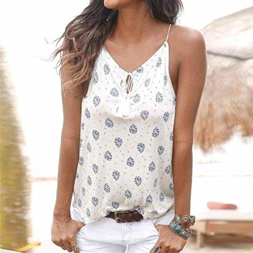 Minetom Femmes D'été Chemisier Tops Col en V Sans Manches Crop Vest Débardeur Imprimé Fleurs Blouse Casual Veste T Shirt Chemise Blanc2