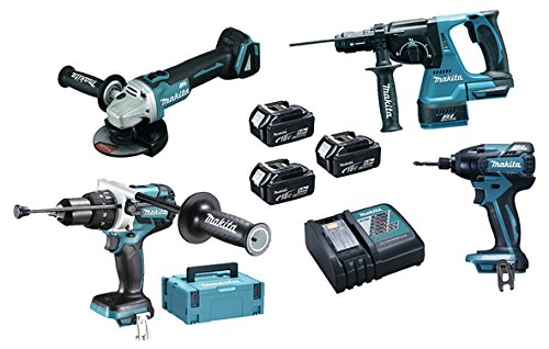 Makita DLX4050TJ Maschinen Pack 4 + 3 akku 18V 5Ah Li-ion + 2 koffer Makpac