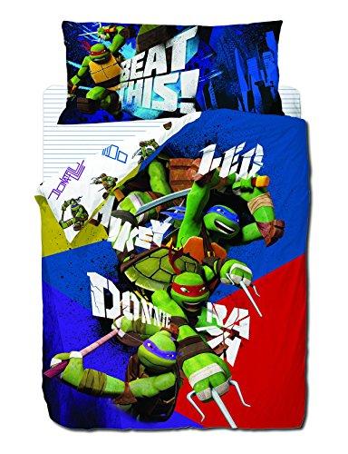 Turtles 3Stück Bettwäsche Set: Bettbezug, Spannbettlaken und Kissenbezüge. (Teenage Mutant Ninja Turtles-kleid)