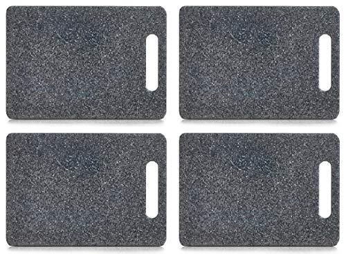 Kunststoff Schneidebrett Granitoptik mit Griff, in 3 Größen lieferbar, Servierbrett, Tranchierbrett, Zeller (4X klein 25x15cm)