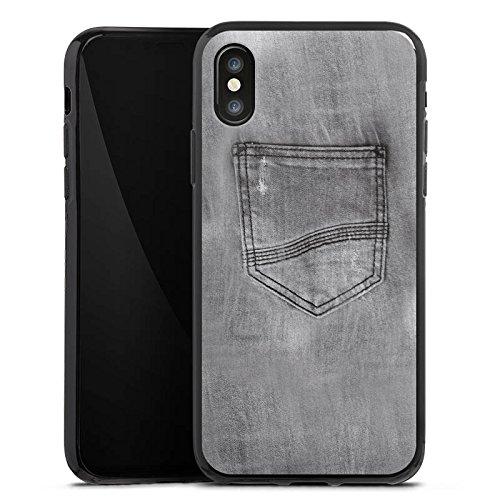 Apple iPhone X Silikon Hülle Case Schutzhülle Jeans Style Hose Grau Silikon Case schwarz