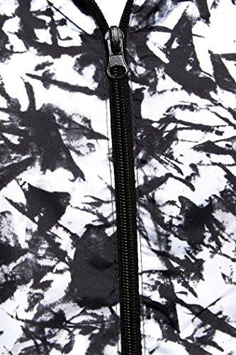 SS7 Femmes à capuche Imperméable Veste de pluie, Grande Taille 46 pour 24 Noir Abstrait