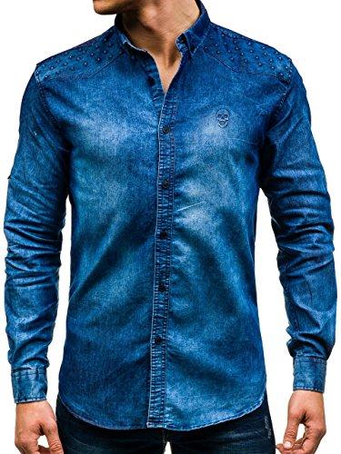 BOLF Mens chemise en jean casual shirt shirt hommes Scène Jeans Mix 2B2 Bleu