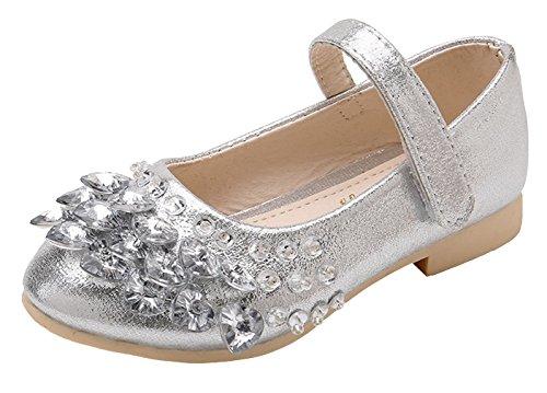 81362c3314c38 Y-BOA Ballerine Enfant Bébé Fille Chaussure Cuir Pu Princesse Pailleté  Mariage Mocassin Sandale Argent