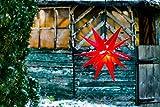 Novaliv Weihnachtsstern 3D Rot 18 Zack 40 cm Kunststoffstern Dekostern Fensterdeko Weihnachtsdeko Innen Außen Stern beleuchtet