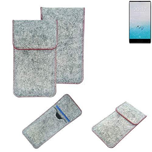 K-S-Trade® Filz Schutz Hülle Für -Ulefone F1- Schutzhülle Filztasche Pouch Tasche Case Sleeve Handyhülle Filzhülle Hellgrau Roter Rand