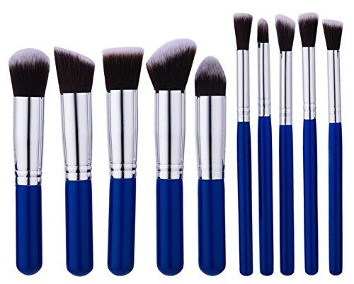 Vi.yo 10 morceaux de brosse à cosmétiques Set Professional Eyebrow Shadow Makeup Brush Kit Outils de maquillage(Bleu foncé)