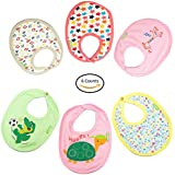 Baybee Premium Quality Baby Small Size Cotton Bibs, Ultra Soft Material | Comfortable And Adjustable Soft Feeding Bibs For Unisex Pack Of 6 Easy To Clean - Assorted Color