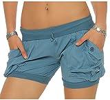Malito Damen Shorts in Unifarben | Lässige Kurze Hose | Bermuda für Den Strand | Pants - Hotpants 6087 (Blau, M)