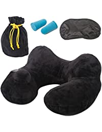 Travel Pillow for Airplanes Neck Pillow Inflatable Support Portable Luxury Lightweight Blow Up Ergonomic Design with Eye Mask, Ear Plugs and Drawstring Bag