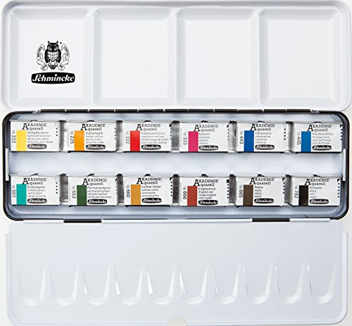 Schmincke Akademie Aquarellfarben 12 ganze Näpfchen im Metallkasten