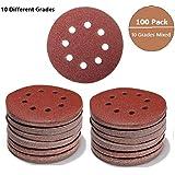 Discos de papel de lija, 100 unidades de 12,7 cm, con 8 agujeros, sin polvo y con velcro, surtido de 60 a 600 granos (60/80/100/120/150/180/240/320/400/600)