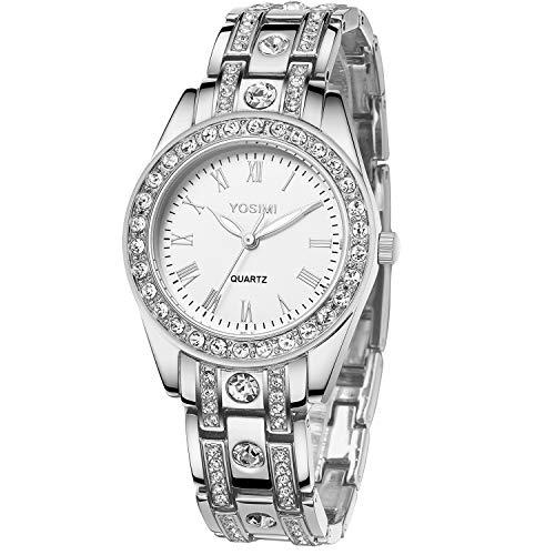 YOSIMI Damenuhr mit Analoganzeige und Armband Silber Luxuriöser Stil Römische Ziffern Runde Form mit Bling Kristallen und leuchtenden Händen Wasserdicht