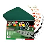 tex family COPRITAVOLO Panno Gioco Carte Poker Verde Proteggi Tavolo - Cm. 140x220 da 12 POSTI