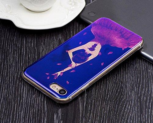 """Coque pour Apple iPhone 7 4.7"""", CLTPY Fashion Motif Fleur élégant Housse dans Doux Silicone Plastic en Blue Bling Flash Protection Case Glitter Sparkles Coquille pour iPhone 7 + 1x Stylet - Violet Piv Belle Fille"""