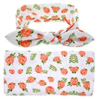 Aszhdfihas-home Baby Transitional Swaddle Sack Baby Wrapping Cloth Headband 2 Pack Newborn Floral Receiving Blankets Baby Swaddling With Headbands Toddler Warm Headband Set (2PCS) Wrap Baby