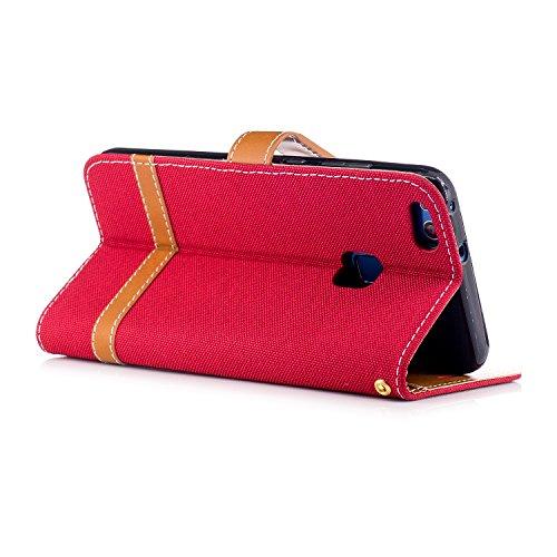 Custodia per Huawei P10 Lite, ISAKEN Flip Cover per Huawei P10 Lite con Strap, Elegante Bookstyle PU Pelle Case Cover Protettiva Flip Portafoglio Custodia Protezione Caso con Supporto di Stand / Carte Marrone+rossa