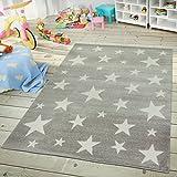 TT Home Kinder- & Jugendzimmer Teppich Im Sternhimmel Design Pastell Trend in Grau Weiß, Größe:120x170 cm