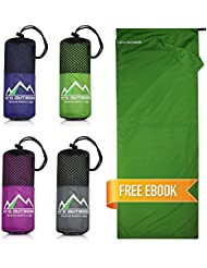 PRO OUTSIDE Premium Hüttenschlafsack aus Hightech Mikrofaser mit Kissenfach Plus GRATIS E-Book I Reiseschlafsack in 4 Farben und optimaler Größe I Ultraleicht, antibakteriell und atmungsaktiv