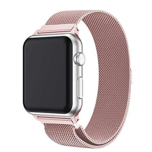 Takkar für Apple Watch1/2/3/4/Apple Watch 4/3/2/1 42mm/44mm - Premium Edelstahlgewebe kombiniert mit Mode,Adel und Eleganz - Metall Mesh Magnetverschluss Edelstahl Ersatzband für Apple Watch 42mm/44mm