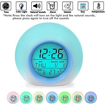 Sunrise Wake Up Digital Table Alarm Clock Nature Sound 7 Colors Led Kids Alarm Clocks Desktop Calenda Frontal Decoration Snooze Be Novel In Design Alarm Clocks Clocks